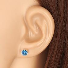 Ohrringe aus 14K Gelbgold - blauer Zirkon in Fassung, Ohrstecker mit Schraubverschluss, 5 mm