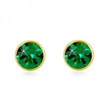 14K Gold Ohrringe - smaragdgrüner Zirkon in Fassung, Ohrstecker mit Schraubverschluss, 5 mm