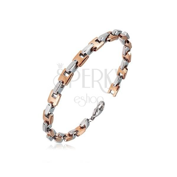 Stahl Armband - rechtwinklig verbundene U-Glieder in rosé-goldener und silberner Farbe, 6 mm