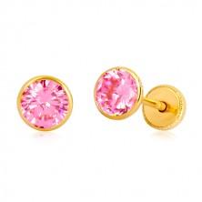 14K Gelbgold Ohrringe - rosa Zirkon in Fassung, Ohrstecker mit Schraubverschluss, 5 mm
