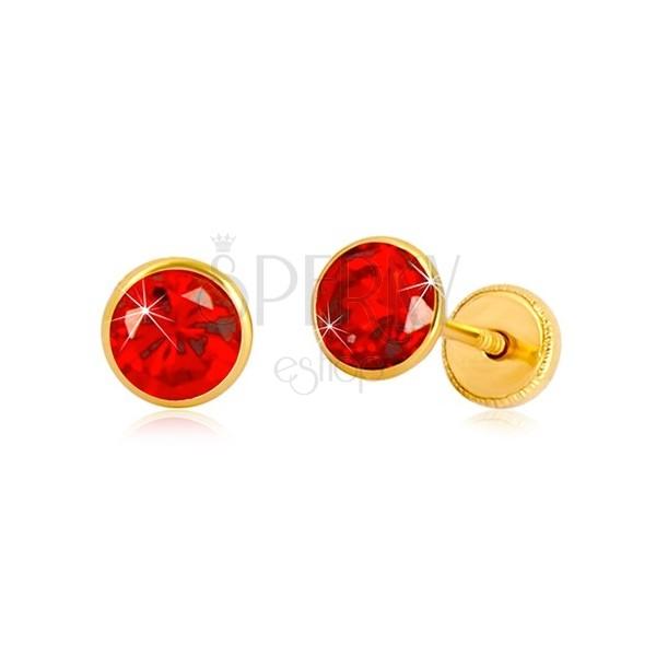 585 Gelbgold Ohrringe - runder Zirkon in einem roten Farbton, Ohrstecker mit Schraubverschluss, 5 mm