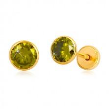 585 Gold Ohrringe - runder Zirkon in grüner Farbe, Ohrstecker mit Schraubverschluss, 5 mm