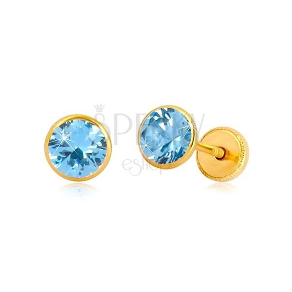 14K Gelbgold Ohrringe - himmelblauer Zirkon in Fassung, Ohrstecker mit Schraubverschluss, 5 mm