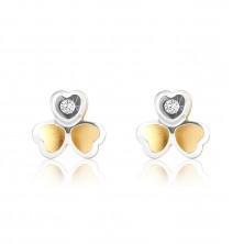 Ohrringe aus kombiniertem 375 Gold - zweifarbiges dreiblättriges Kleeblatt, kleiner Zirkon
