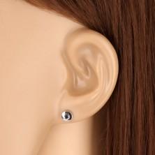 Ohrringe aus 375 Weißgold - glänzender Kreis mit einem dunkelblauen Saphir, 5 mm