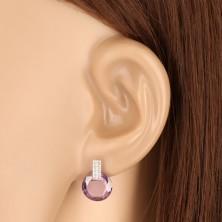 9K Weißgold Ohrringe - Zirkon Rechteck, runder Zirkon in lila Farbe