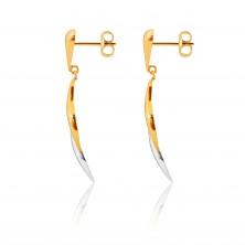 Ohrringe aus kombiniertem 9K Gold - umgekehrter Tropfen, zweifarbige Wellen