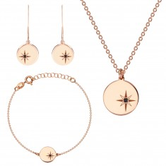 Dreier-Set aus 925 Silber in rosé-goldener Farbe - Nordstern, schwarzer Diamant