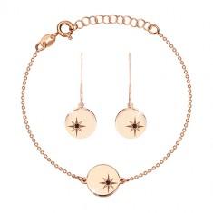 925 Silber Set, rosé-goldener Farbton - Armband und Ohrringe, Kreis mit Polarstern, schwarzer Diamant
