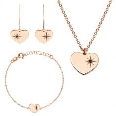 Dreier-Set in rosé-goldener Farbe, 925 Silber - glänzendes Herz, Nordstern, schwarzer Diamant