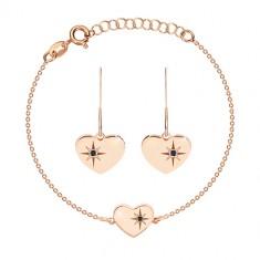 925 Silber Set, rosé-goldener Farbton - Armband und Ohrringe, Herz mit Polarstern und einem Diamanten