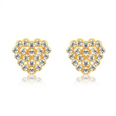 Ohrringe aus 9K Gelbgold - transparente Zirkone, Herz und Herzumriss