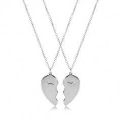 Set aus 925 Silber - zwei Halsketten, geteiltes Herz mit blinzelnden Augen