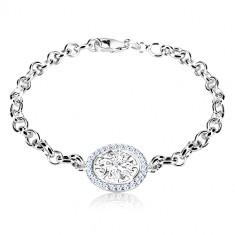 925 Silber Armband - Kreis mit dekorativ geschnitzter Blume und Zirkonen