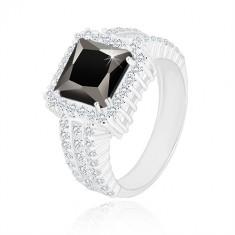925 Silber Ring - schwarzes Zirkon Quadrat, Rand und Ringschiene mit klaren Zirkonen