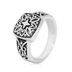 925 Silber Ring - dekoratives Quadrat und geschnitzte Ringschiene mit Patina