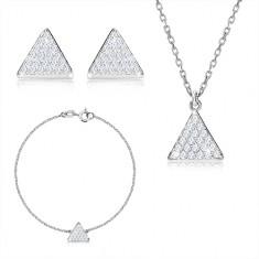 Dreier-Set, 925 Silber - gleichseitiges Dreieck mit Zirkonen, Kette
