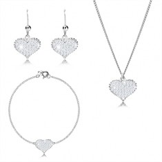925 Silber Dreier-Set - symmetrisches Herz mit Zirkonen, in Reihen verbundene Kette