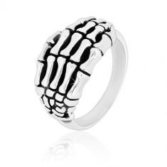 Ring aus 925 Silber - detailliert geformtes Hand-Skelett, glänzende Ringschiene, Patina