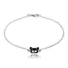 925 Silber Armband - glänzende Kette, Hund mit Glasur in schwarzer Farbe geschmückt, Karabinerverschluss