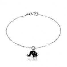 925 Silber Armband - glitzernde Kette, Elefant mit schwarzer Glasur geschmückt