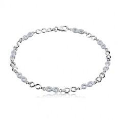 925 Silber Armband - Unendlichkeits-Symbole, Lemniskaten mit Zirkonen