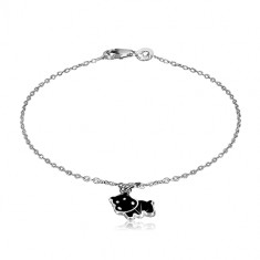 925 Silber Armband - Anhänger mit dem Motiv eines schwarzen Nilpferds, glänzende Kette