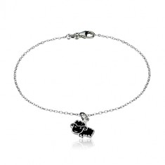 925 Silber Armband - glitzernde Kette und Schaf mit Glasur in schwarzer Farbe