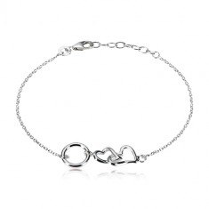 925 Silber Armband - zwei glänzende Herzen und ein Kreis, kleinere ovale Glieder