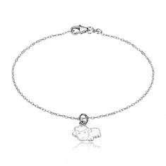 Armband aus 925 Silber - glitzernde Kette und ein Schaf mit einer Glasur in weißer Farbe