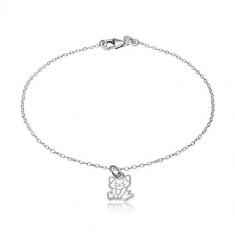 925 Silber Armband - Anhänger mit dem Motiv einer Katze, glänzende ovale Glieder