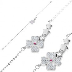 925 Silber Armband - glitzernde Blume, drei Sterne, kleine ovale Glieder