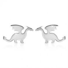 925 Silber Ohrringe - Drachen-Motiv, glänzende Oberfläche, Ohrstecker