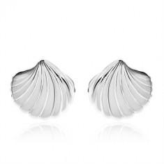 925 Silber Ohrringe - glänzende Muschel mit Einschnitten, Ohrstecker