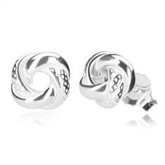 925 Silber Ohrringe - glänzender Knoten mit asymmetrischen Vertiefungen, Ohrsteckerverschluss