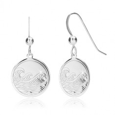 925 Silber Ohrringe - glänzender Kreis, gravierte Oberfläche, Meeresmotiv