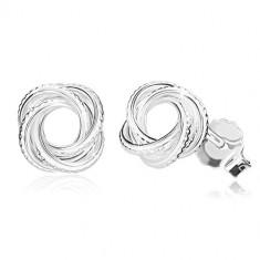 925 Silber Ohrringe - glänzender Knoten mit Einschnitten, schmale Linien, Ohrsteckerverschluss