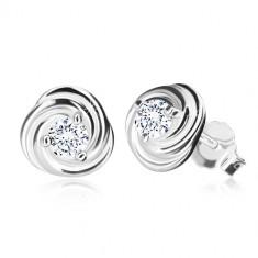 925 Silber Ohrringe - Blume aus Blütenblättern, glitzernder Zirkon, Ohrsteckerverschluss