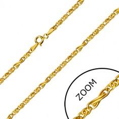 585 Gold Kette - Unendlichkeits-Motiv und flache ovale Glieder, 550 mm