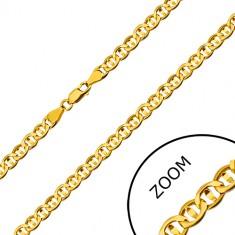 Kette aus 585 Gelbgold - flache Glieder durch Körner geteilt, 600 mm
