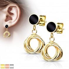 Ohrringe aus 316L Stahl - Fassung mit Glasur in schwarzer Farbe gefüllt, Windung, Ohrstecker