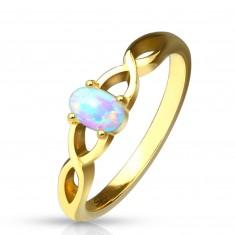 Stahl Ring in goldener Farbe - synthetischer Opal mit Regenbogenglanz, verflochtene Ringschiene