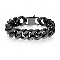 Armband aus Stahl - große ovale Glieder reihenweise verbunden, matte schwarze Ausführung