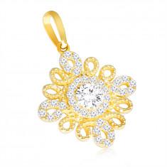 375 Gold Anhänger – spiralförmige Kontur in Form einer Blume, klarer Zirkon in der Mitte