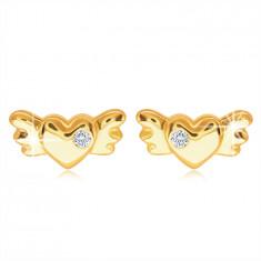 9K Gold Ohrstecker – volles symmetrisches Herz mit Flügeln und einem klaren Zirkon