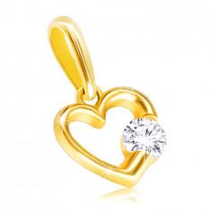 9K Gelbgold Anhänger – glänzende Kontur eines Herzens mit einem klaren Zirkon