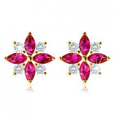 375 Gold Ohrringe – Blume mit rosa-roten und klaren Zirkon Blütenblättern