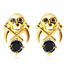 Ohrringe aus 375 Gold – Schädel mit zwei Sicheln, Zirkone in einem schwarzen Farbton