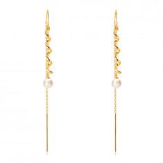 Hängende Ohrringe aus 585 Gold – glänzende Spirale, Perle in weißer Farbe