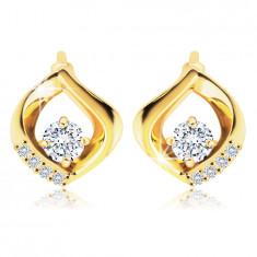 14K Gold Ohrringe – klarer Zirkon mit einer gewellten Träne gesäumt